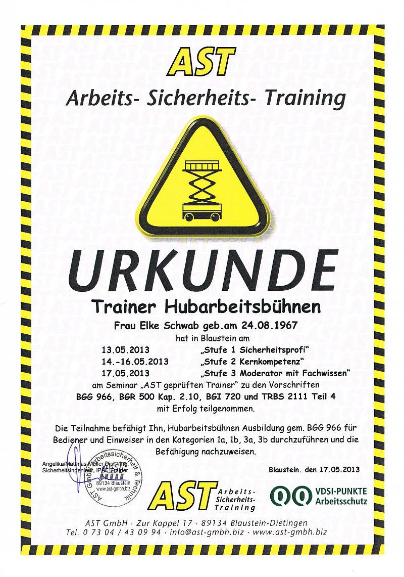 Bedienerschulungen Trainer-Urkunden